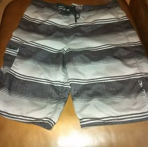O'NEILL GRAY and WHITE STRIPED SWIM TRUNKS